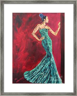 Woman In The Green Gown Framed Print by Lee Ann Newsom