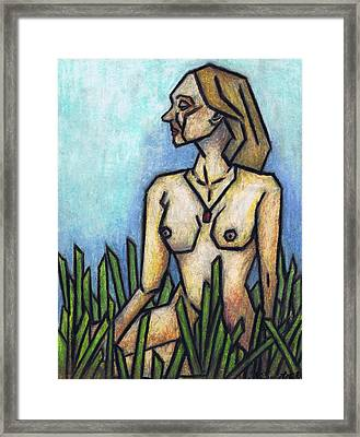 Woman In The Meadow Framed Print