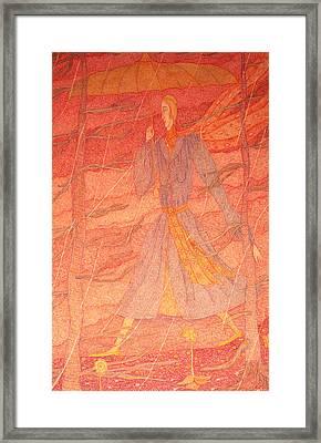 Woman In The Rain Framed Print by Eleanor Arbeit