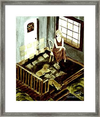 Woman In The Window Framed Print