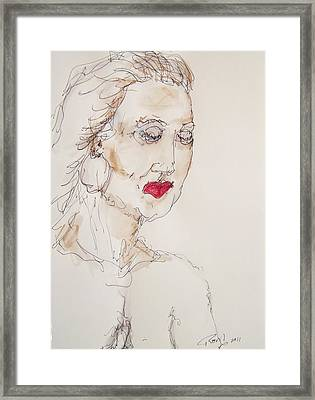 Woman In Thought Framed Print