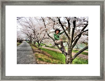 Woman In Tree Framed Print by Dan Friend