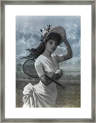 Woman In White Dress Holding Flowers And Tennis Racket Framed Print by Bill Cannon
