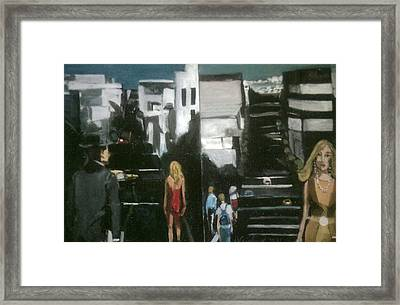 Woman In Yellow On San Francsco Street Framed Print by Harry WEISBURD