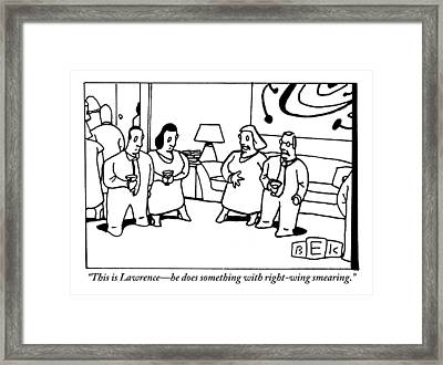 Woman Introduces Her Friend At A Cocktail Party Framed Print