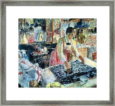 Woman Ironing Framed Print by Rik Wouters