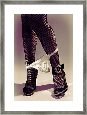 Woman Legs In Stocking With Underwear On Her Ankles Framed Print