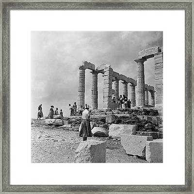 Woman Looking At The Acropolis Framed Print