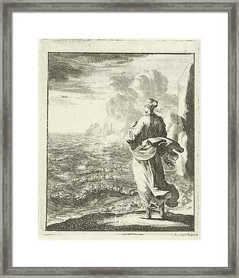 Woman Looking From The Shore Out To Sea, Jan Luyken Framed Print