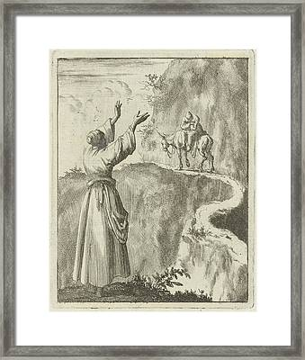 Woman Looks Startled At A Sleeping Man Who Bestrides Framed Print