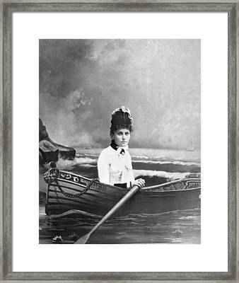Woman Lost At Sea In A Studio Framed Print
