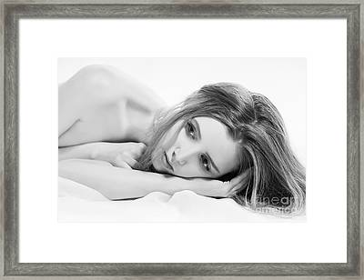 Woman Lying In Bed Framed Print by Aleksey Tugolukov