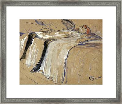 Woman Lying On Her Back Framed Print by Henri de Toulouse Lautrec