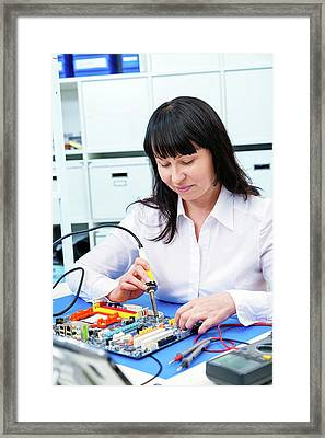 Woman Making A Micro Processor Framed Print