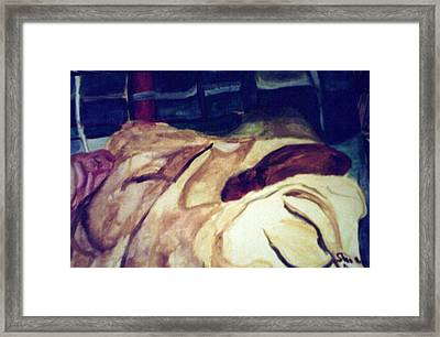 Woman Napping On A Couch  Framed Print