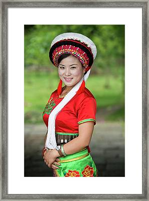 Woman Of The Bai Ethnic Minority In China Framed Print by Tony Camacho