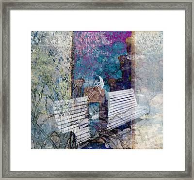 Framed Print featuring the digital art Woman On A Bench by Cathy Anderson