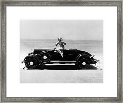 Woman On A Hupmobile Framed Print by Underwood Archives