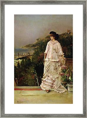 Woman On A Terrace Framed Print by Alfred Emile Stevens