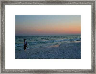 Woman On Beach At Dusk Framed Print