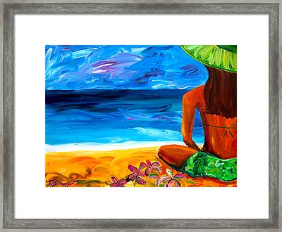 Woman On Beach Framed Print by Beth Cooper