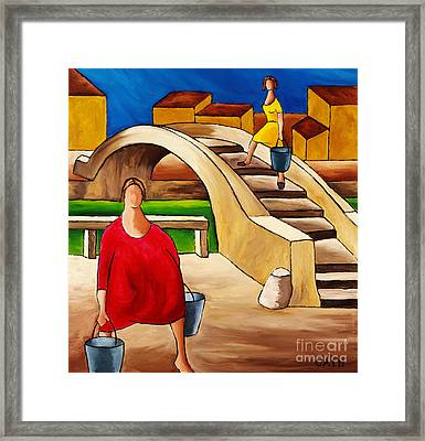 Woman On Bridge Framed Print by William Cain