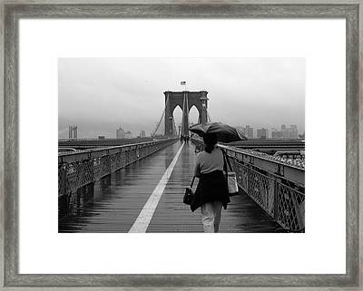 Woman On Brooklyn Bridge Framed Print