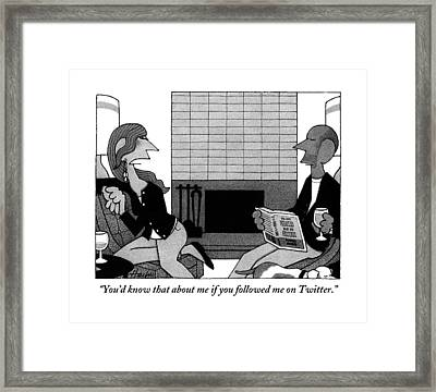 Woman On Couch Says To Man Who Is Reading Framed Print by William Haefeli