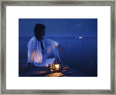 Woman On Dock At Night Framed Print by Bryan Allen