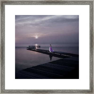 Woman On Footbridge Framed Print by Joana Kruse