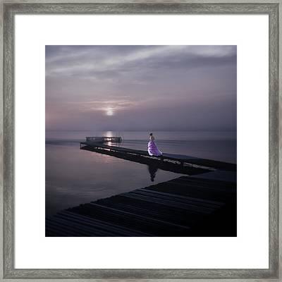 Woman On Footbridge Framed Print