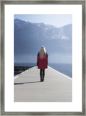 Woman On Jetty Framed Print by Joana Kruse