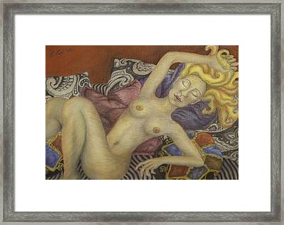 Woman On My Couch Framed Print by Claudia Cox