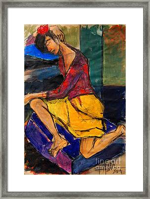 Woman On Purple Pillow - Pia #3 - Figure Series Framed Print