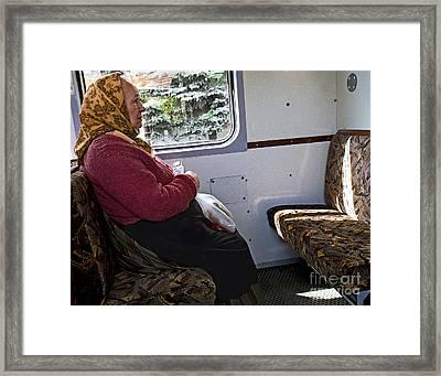 Woman On Train - Budapest Framed Print by Madeline Ellis
