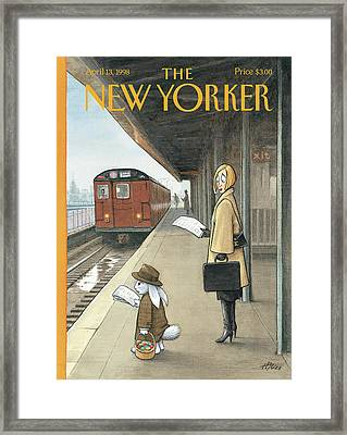 Woman On Train Platform Looking At Easter Bunny Framed Print by Harry Bliss