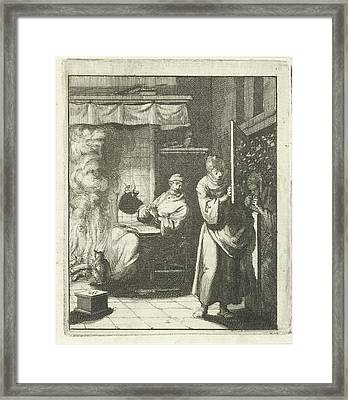 Woman Opens The Door For A Figure Who Stands Framed Print by Jan Luyken And Pieter Arentsz Ii