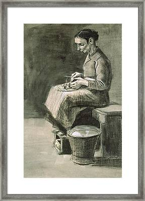 Woman Peeling Potatoes, 1882 Framed Print