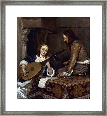 Woman Playing A Theorbo Framed Print by Granger
