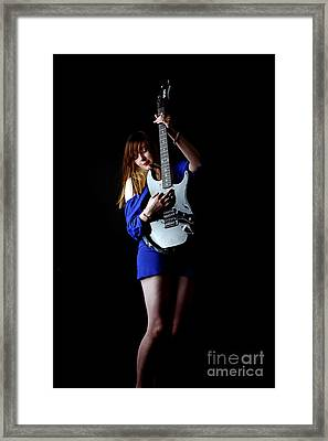 Framed Print featuring the photograph Woman Playing Lead Guitar by Craig B