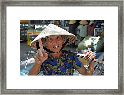 Woman Portrait At Market In Hue Framed Print by Sami Sarkis