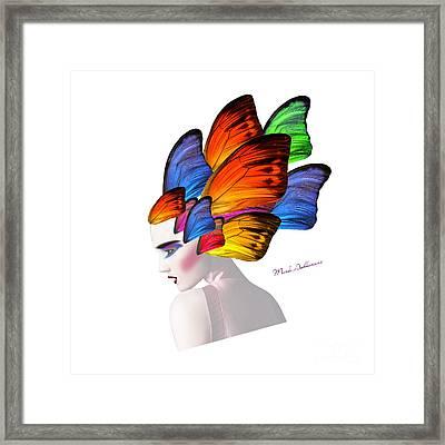 Woman Portrait Butterfly  Framed Print