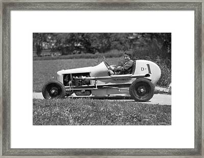 Woman Race Car Driver Framed Print by Underwood Archives