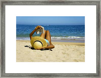 Woman Reading A Book  Framed Print by Aged Pixel