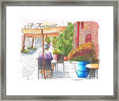 Woman Reading A Newspaper In Il Fornaio In Pasadena, California Framed Print