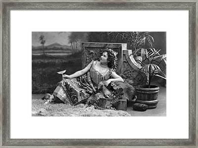 Woman Reclining In Luxury Framed Print by Underwood Archives