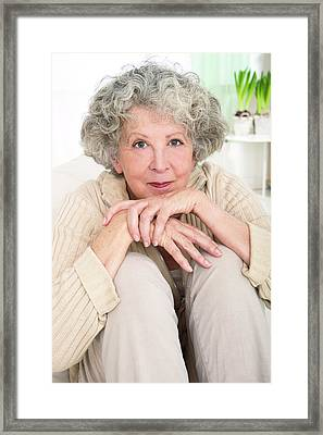 Woman Resting Chin On Hands Framed Print