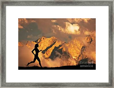 Woman Running Jogging In The Mountains Framed Print by Michal Bednarek
