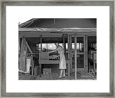Woman Sawing Box In Half Framed Print