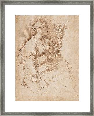 Woman Seated Holding A Statuette Of Victory, C.1524 Pen & Ink On Paper Framed Print by Parmigianino